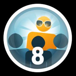 Convide seus amigos para usarem o Apontador e com 8 seguidores você conquista essa medalha.